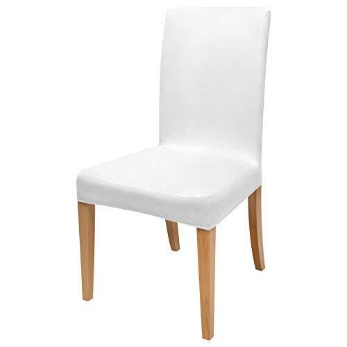 Beautissu Funda de sillas MIA - 35x50 cm Funda elástica de algodón - Bi-elástica - ÖKO-Tex - Blanca ⭐