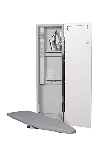 Iron-A-Way Built-In Ironing Center with 42 Inch Swiveling Ironing Board, Electrical System, Hot Iron Storage and Flat White Door-AE42FWU