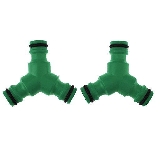 Demiawaking 2 stück kunststoff t kopf garten bewässerung kupplungen rohrverbinder (grün)