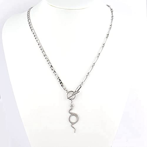 HUREWQ collarPunk Women Stainless Steel Necklace Snake Necklace Long Pendant Necklace For Women Snake Necklaces Double Layer Necklace Jewelry