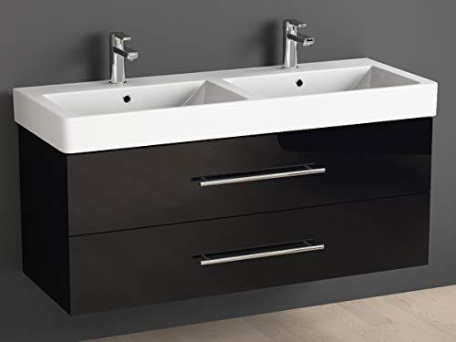 Aqua Bagno Badmöbel 120 cm inkl. Keramik Doppelwaschtisch/Badezimmer Möbel mit Doppel-Waschbecken und Unterschrank - 2 hochwertige softclose Metallauszüge - schwarz Hochglanz lackiert