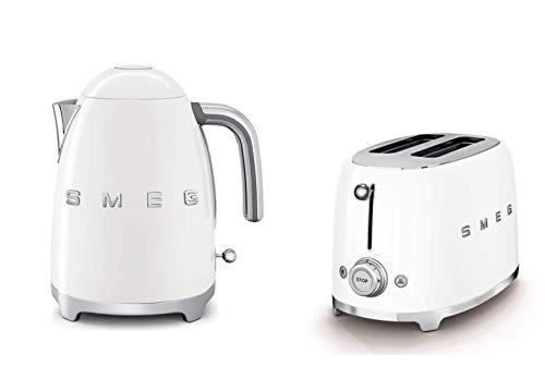 Smeg KLF03WHUK 1.7Ltr - 3kw Kettle and TSF01WHUK 2 Slice Toaster Set in White