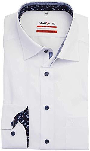 Marvelis Camisa de manga larga de corte moderno., Blanco, 50
