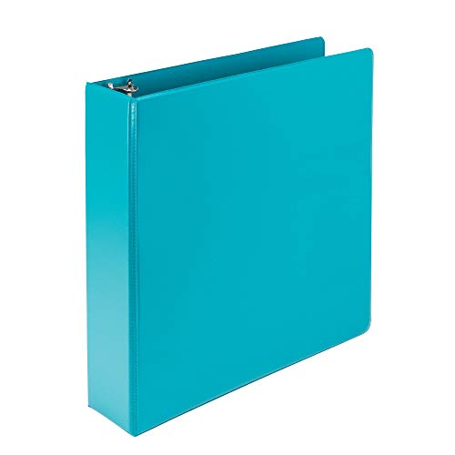 """Samsill Earth's Choice Durable View 3 Ring Binder, Customizable, 2"""" Round Ring, Up to 25% Plant Based Plastic, Turquoise"""