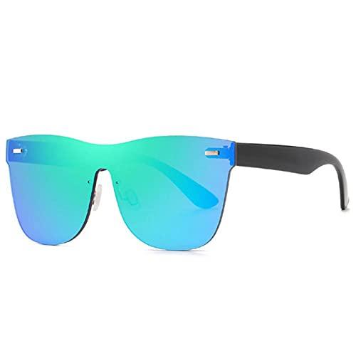 Gosunfly Gafas de sol de espejo integrales sin espejo de tinta moda femenina-Montura negra con agua verde