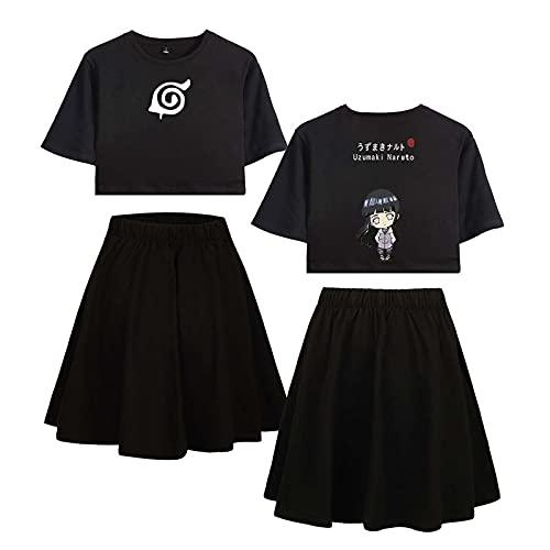 MUTOJIYO Naruto Crop Top Camisetas y Faldas 2 Piezas Conjunto Chándal Anime Cosplay T-Shirts y Falda Cortos Deportivos Trajes para Mujeres Niñas