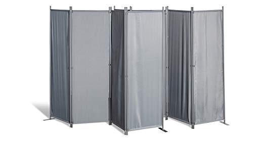 GRASEKAMP Qualität seit 1972 2 Stück Paravent 4tlg Raumteiler Trennwand Sichtschutz Grau