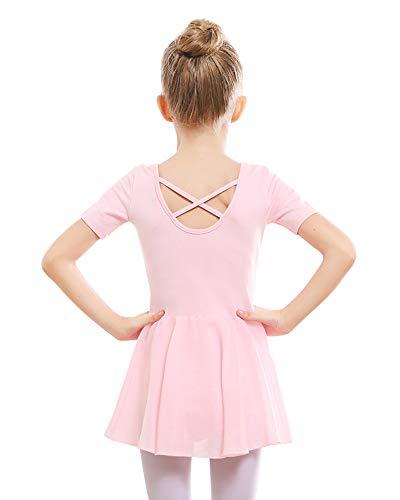 STELLE Girls Ballet Short Sleeve Dress Leotard for Dance, Gymnastics (110cm, Ballet Pink)
