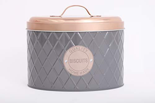 KONTARBOOR Boite à Biscuits Métal très Moderne et Design Bicolore Rose et Grise pour Conserver Hermétiquement Vos Biscuits, gateaux, Bonbons
