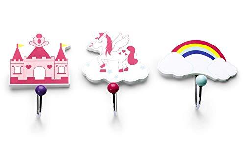 Mousehouse Gifts - Set de 3 percheros infantiles - Madera - Temática fantasía
