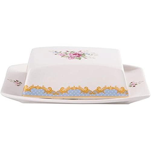 Vpsppb Caja de Crema Creativa con Cubierta, Placa de Aceite de cerámica Hermosa de patrón, contenedor de Mantequilla, Usado para almacenar postres, Pasteles y recipientes de Mantequilla de Queso
