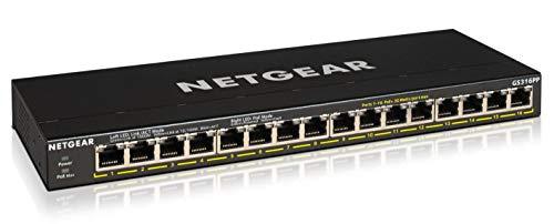 NETGEAR GS316PP 16-port Gigabit Ethernet LAN PoE-omkopplare (med 16 x PoE+183 W, plug-and-Play nätverksswitch skrivbord eller väggmontering, fläktlöst metallfodral)