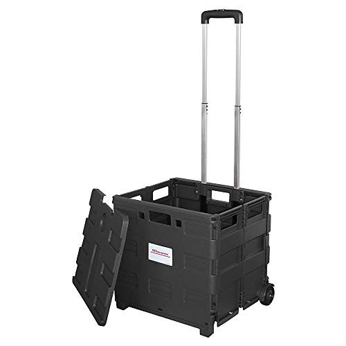 Office Depot Mobile Folding Cart with Lid, 16in.H x 18in.W x 15in.D, Black, 50801