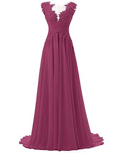 Abendkleider Lang A-Linie Ballkleider Chiffon Brautmutterkleider Spitzen Hochzeitskleid Empire Festkleider Orchidee 36