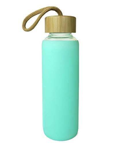 Wenburg Cantimplora Botella de Cristal con Tapa de bambú 550 ml, Cubierta de Silicona. Botella Deportiva/Botella de Agua de Vidrio. para Llevar. para té, Agua, Batidos (Menta, 0,35 l)