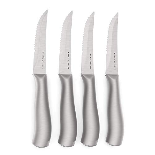 """Emeril Lagasse Best Kitchen Knives Collection - 4-Piece 45"""" Stainless Steel Steak Knife Set Large Hollow Handles - Large Steak Knife Set Serrated Dinner Knifes Everyday Knives for Dinner and Eating"""
