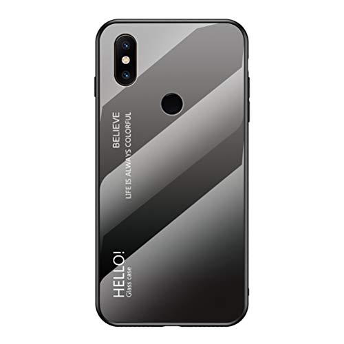 """Capa para Mi Mix 2S, Capa traseira de vidro temperado fina da YINCANG resistente a arranhões + Capa de proteção híbrida de silicone TPU macio para Xiaomi Mi Mix 2S 6"""" Cinza + Preto"""