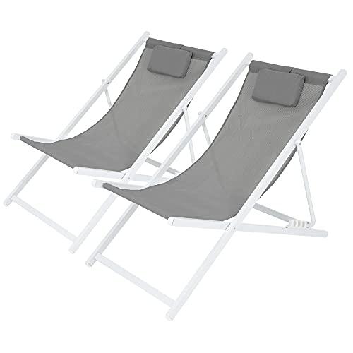 ECD Germany Liegestuhl 2er Set, klappbar, aus Aluminium, Grau, Strandliege mit Kopfkissen, 4-fach verstellbare Rückenlehne, robust, Sonnenliege Gartenliege Relaxliege Strandstuhl, für Garten, Terrasse