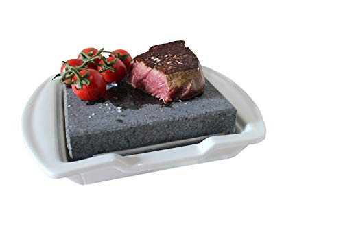 Black Rock Grill Steak on the Stone and Plate Set, Hot Stone Cooking Steak Stones Black Rock Grill Lava Steak Hibachi Flame Rock