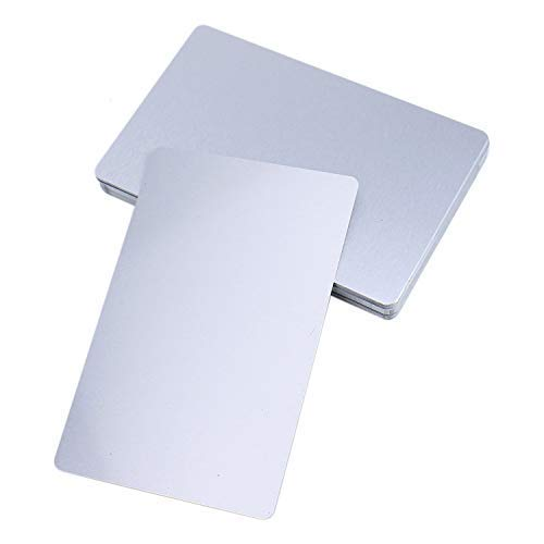 Monrocco Pack of 50 pieces Silver Metal Business Cards Blanks for Customer Laser Engraving DIY Gift Cards