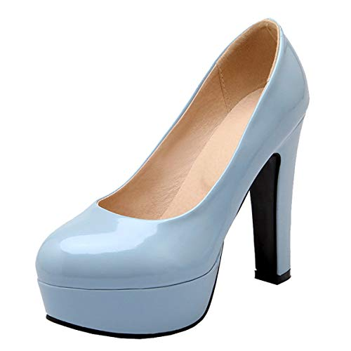 LUXMAX Scarpe Donna Decolte con Plateau Tacco Largo Alto Decollete Vernice Slip-on Pumps High Heels Punta Chiusa (Blu) - 39 EU