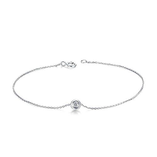 Daesar Pulsera Oro Blanco 18k,Pulseras de Mujer de Plata Redondo Diamante