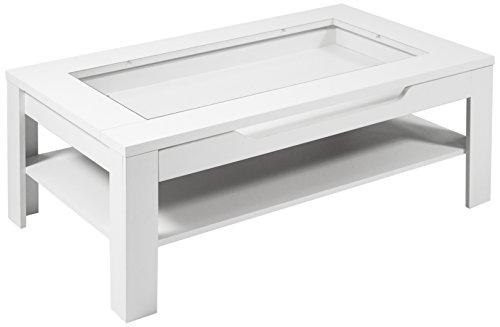 HOMEXPERTS Couchtisch ROMAN / moderner Sofatisch mit Glaseinlage und großzügiger Schublade in Weiß / Beistelltisch mit viel Stauraum / 120x60x42cm (LxBxH)
