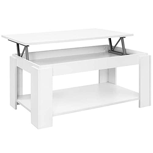 COMIFORT Mesa de Centro Elevable - Mueble con Revistero, Gran Almacenaje, Estilo Moderno, Muy Resistente, Fabricada en Europa, Color Blanco Mate