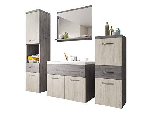 Badmöbel Set Bella I mit Waschbecken und Siphon, Modernes Badezimmer, Komplett, Spiegel, Waschtisch, Hochschrank, Hängeschrank Möbel (Ribeck/Artwood)
