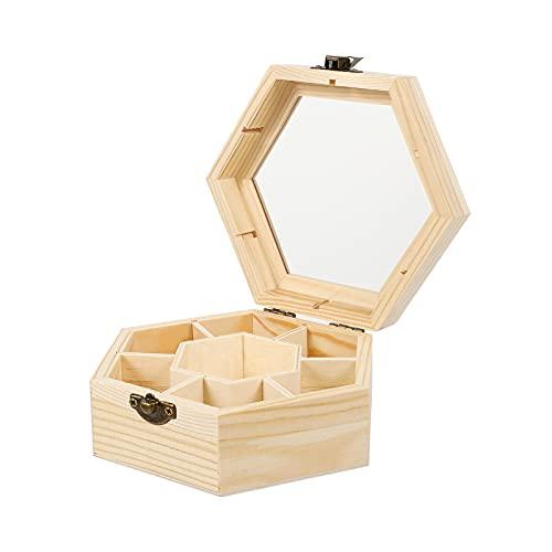 EXCEART Joyero Hexagonal de Madera de 7 Compartimentos Organizador de Joyería de Madera sin Terminar con Cierre 1 Pieza