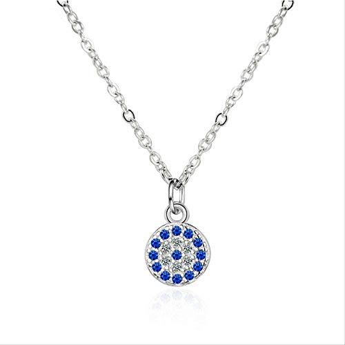 CCXXYANG Co.,ltd Necklace Genuine 925 Sterling Silver Necklace Turkey Round Evil of Eye Necklaces for Women Link Chain Jewelry 43.5Cm