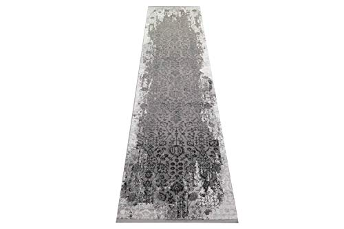 Teppich-Traum Alfombra Vintage Sala de Estar Alfombra Orient Design Adornos de Alfombra en Gris Größe 80 x 300 cm