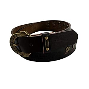 Womens Brown Studded Leather Belt With Horseshoe Buckle 38