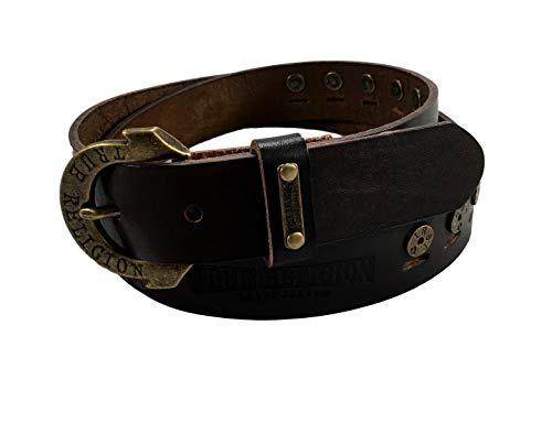Womens True Religion Jeans Leather Belt Brown Studded Embossed Hardware Logo Horseshoe Buckle (24)