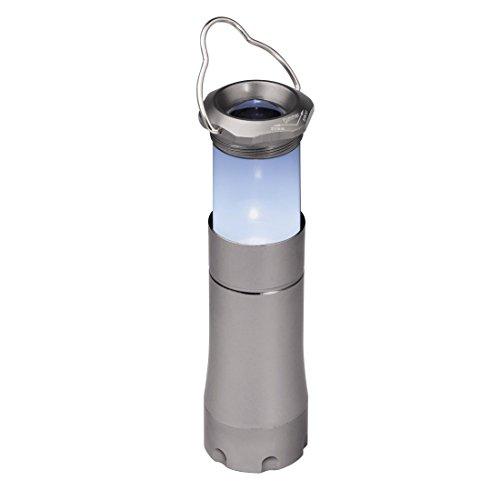Hama LED-Lampe 2in1: Taschenlampe und Campinglampe mit Aufhängebügel (stromsparend, wassergeschützt, dimmbar) grau
