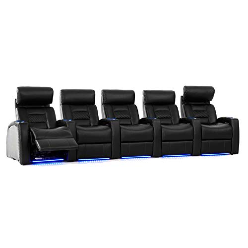Octane Seating Flex HR Home Theatre Seats - Black Top Grain Leather - Power Recline - Row of 5