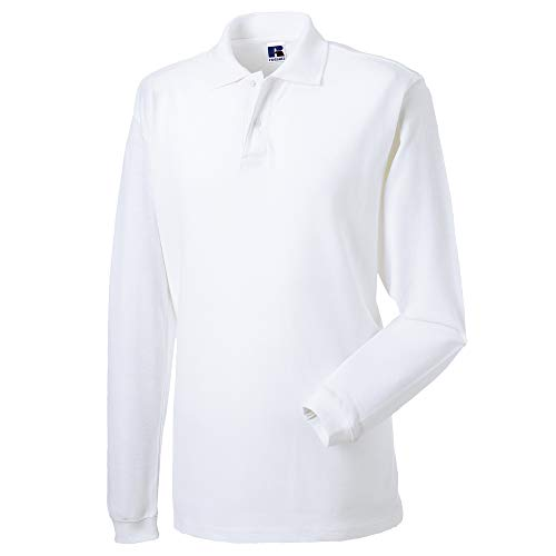Russell Europe - Polo à Manches Longues - Homme (XL) (Blanc)
