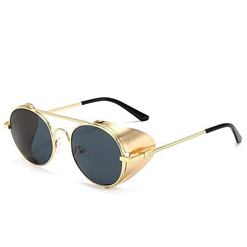 Gafas de Sol Gafas De Sol De Estilo Steampunk De Lujo Vintage Cubierta Lateral De Metal Fresco Tallado Diseño De Marca Punk Gafas De Sol C2