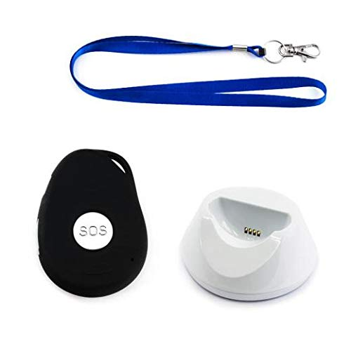 AMG Notrufknopf mit GPS-Sender und SIM Karte für Senioren | sicher Zuhause und unterwegs | mit Halsband und Ladestation | spritzwassergeschützt