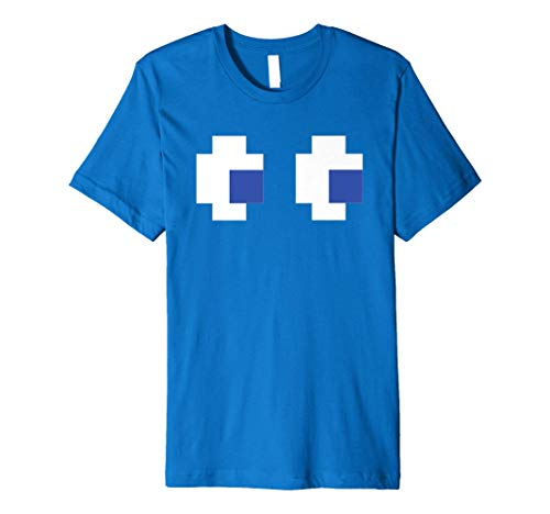 Pac-Man Ghost Eyes Blue Premium T-shirt, Many Colors, Men or Women, S to 3XL