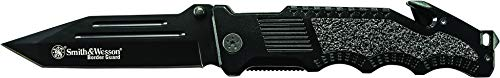 Smith & Wesson Border Guard 10in High Carbon S.S. Folding Knife with 4.4in Tanto Blade and Aluminum...