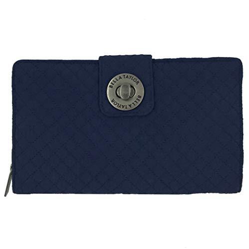 Bella Taylor Microfiber RFID Wristlet Cash System Wallet, Navy Blue (Navy Blue)