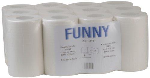 Funny Papierhandtuchrolle MINI, Innenabwicklung 20 cm, Ø 13 cm, 1 lagig, hochweiß, 1er Pack (1 x 12 Stück)