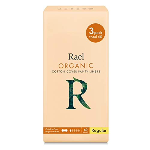Rael Certified Organic CottonPanty Liners, Regular - 3Pack/60 total - Unscented Pantiliners -...