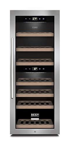 CASO WinePremium 38 Smart, Weinkühlschrank für 38 Flaschen, 2 Zonen für 5-20°C, LED Beleuchtung, mit WLAN und WiFi App, Edelstahl, BEEF!-Edition