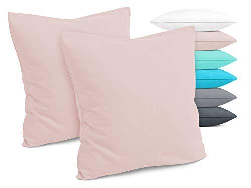 Doppelpack - Kissenbezüge aus Jersey-Baumwolle - Moderne Kissenhüllen in unifarbenem Design - in 6 modernen Farben und 4 Größen, ca. 40 x 40 cm, Altrosa