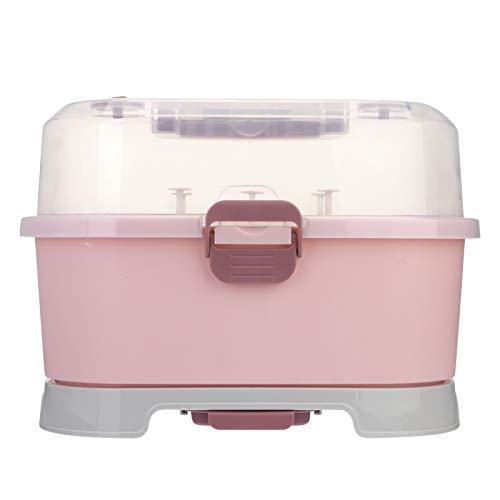 NUOBESTY Rejilla para Secar Biberones con Tapa Caja de Almacenamiento Portátil para Biberones Organizador de Vajilla para Uso Doméstico Cocina Rosa