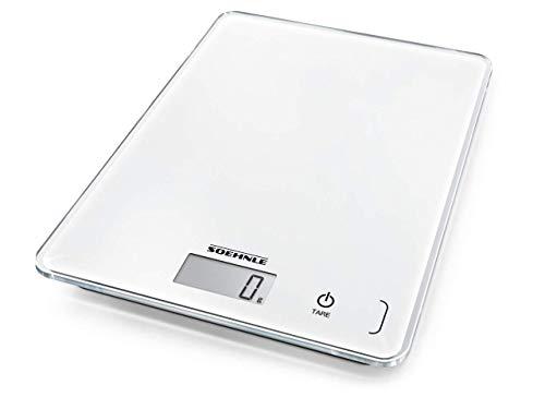 Soehnle Page Compact 300 digitale Küchenwaage bis zu 5 kg Tragkraft, Weiß, Küchenwaage mit leicht ablesbarer LCD-Anzeige, Digitalwaage mit Zuwiegefunktion