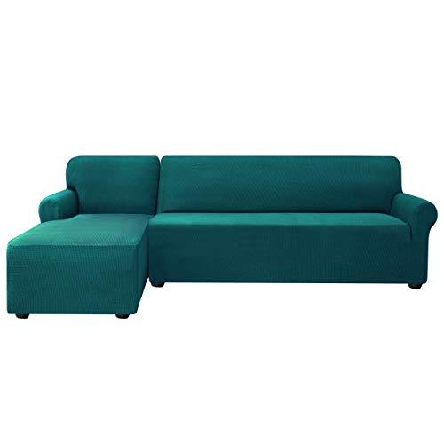 subrtex Sofabezug L Form Stretch Sofahusse Ecksofa Elastisch Antirutsch Eckcouch überwurf Weich Stoff Abwaschbar (Links 2 Sitzer, Petrol Blau)