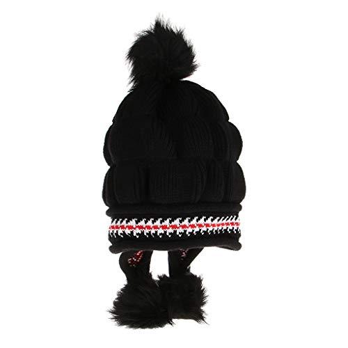 dailymall Frauen Stricken Peruanische Mütze Winter Ski Hut Mütze Mit Earflap Pom - Blau